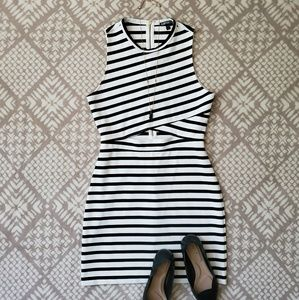 Express | Striped Cut Out Bodycon Dress